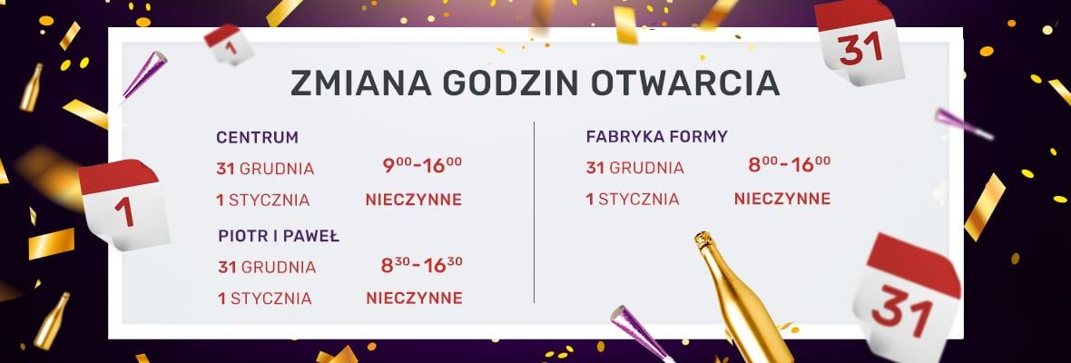 Godziny otwarcia Grudzień /Nowy Rok
