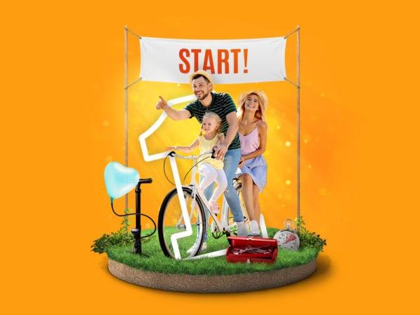 <span>Chodź na rower</span> <span>WYGRAJ ROWER!</span>